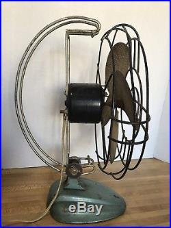 Antique Vintage Art Deco Machine Age Atomic Table Fan Working Condition