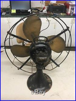 Antique Vintage Emerson 29648 Electric Desk Fan 16 Brass Blades