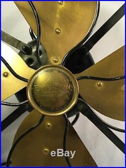 Antique Vintage Emerson Brass Blade 3 Speed Oscillating Fan 16 Type 29648 Works