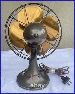 Antique Vintage Emerson Electric Oscillating 6250-K Brass Fan WORKS