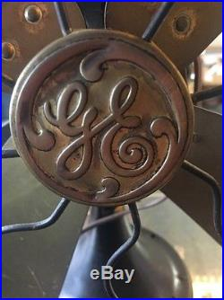 Antique Vintage GE Electric Oscillating Fan Brass Blades 17 Steel Cage Works