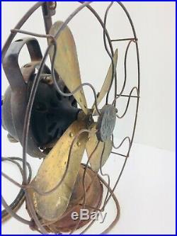 Antique Vintage GE Oscillating Fan Working Needs Restored 12 Brass Blades