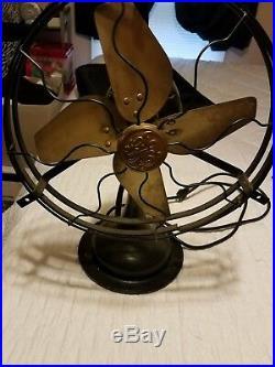 Antique Vintage GE WHIZ Brass Blade fan in l Excellent Condition &Works