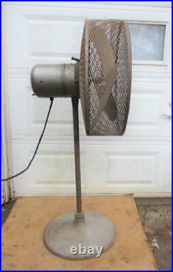 Antique Vintage ILG 24 Industrial Floor Fan Cast Iron Base Steampunk Dieselpunk