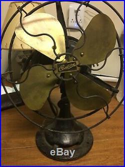 Antique Vtg 1920s Century 10 Electric Fan S2-10 Brass Bladed. WORKS