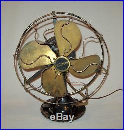 Antique Vtg 1920s Century 10 Electric Fan S2-10 Brass Blades Oscillating Works