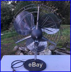 Antique Vtg Emerson K60 Air Circulator 30 Counter Column Art Deco Fan 3 Blade
