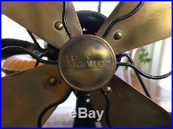 Antique Wagner Oscillating Brass Blades Fan RUNS GREAT! Way Cool! Serial E1