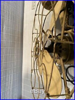 Antique Western Electric Hawthorne Double Lever Fan Needs Restoration 16 Inch