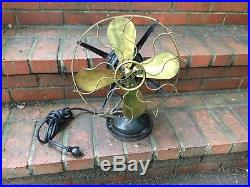 Antique Western Electric Oscillating Fan, Brass blades and Cage Runs Great
