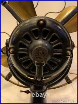 Antique Westinghouse 12 Brass Blade Fan Working Unrestored