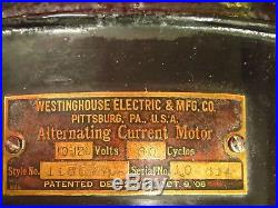 Antique Westinghouse 12 Electric Fan-2 Speeds-patd 1893-1906, Rotates 360`-works