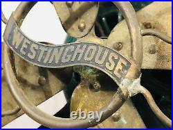 Antique Westinghouse Brass Blade 12 Double Lever Oscillating Electric Fan