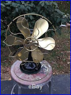Antique Westinghouse Fan Circa 1914 Brass Blade And Cage 164864D Nice