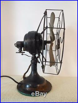 Antique Working Electric ROBBINS & MYERS 12 Table Fan For Parts 6 Brass Blades