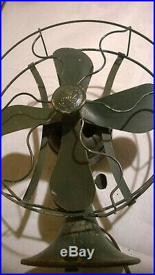 Antique Working General Electric Whiz Desk Fan With Painted Steel Blades & Cage