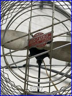Antique art deco table fan Air Castle 14 Inch Nice Original