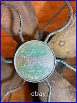 Antique brass blade electric fan Signal Menominee mich