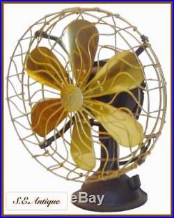 Antique brass blade fan antique brass electric fan size 14 Orbit