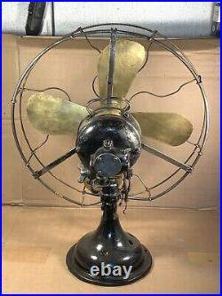 Antique brass blade fan large GE century selling for parts restore