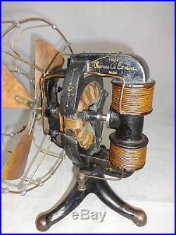 Antique edison fan nice original finish brass 4 blade model 1898