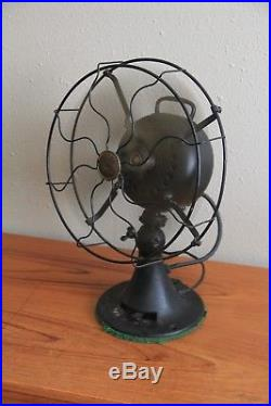 Antique emerson fan 27666 brass blades. Works! Fans and oscillates! 6 blade