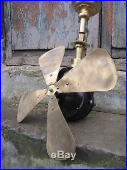 Antique french industrial 16 brass 4 blade ceiling fan Vintage 1900s