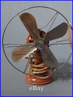 Antique vintage 1930 brown bakelite desk electric fan collectible