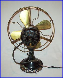 Antique vtg 1914 GE No 942263 Electric Fan Working Collar Oscillator Brass Blade
