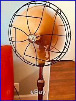 Art Deco Antique Emerson Oscillating 3 Speed Pedestal Floor Fan