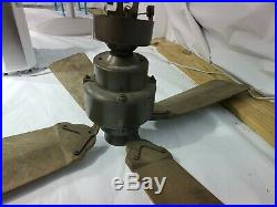 Barn antique cast iron Emerson electric ceiling fan wood blade 36 inch. (RARE)