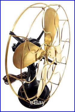 Beautiful Antique 1914 Oscillating Western Electric Brass & Cast Iron 16 Fan