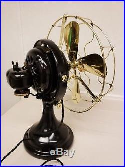 Beautiful Antique Restored GE 12 Brass Blade & Cage Oscillating Kidney Fan
