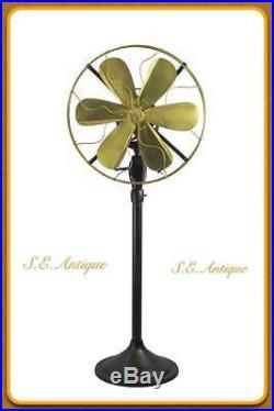 Brass electric fan antique brass fan 14 Blade Orbital Oscillating Floor Stand