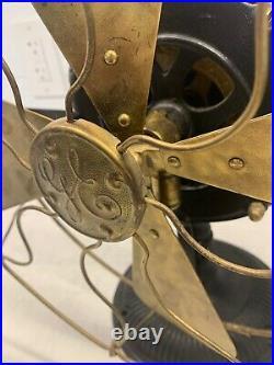 Circa 1900 General Electric Brass Blade Desk Fan Patent Date 1889 1900