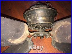 DAYTON ANTIQUE CAST IRON DC ELECTRIC CEILING FAN 1890s CRESCENT WOODEN BLADES