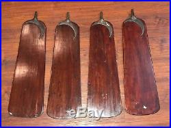 DAYTON ANTIQUE CAST IRON DC ELECTRIC CEILING FAN 1910s WOODEN BLADES w CRESCENT