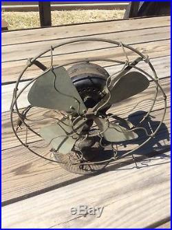 Early EMERSON TROJAN BRASS Blade Electric Fan Ornate Base Antique Runs Scarce