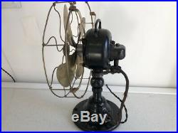 Emerson 21646 Antique Electric Oscillating Fan with12 brass blades cage Restored