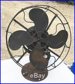 Emerson Brass Electric Fan Old Motor 12 Antique Vintage Early Original Paint