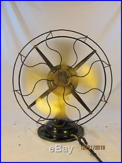 Exc. & Unrestored Antique ROBBINS & MEYERS Brass Bladed Electric Fan It Works