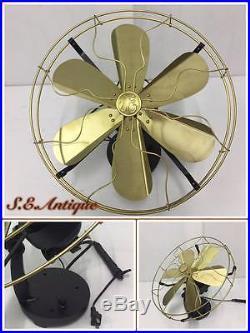Fan Brass Blade Antique Electric Vintage Se Blades 12 Oscillating 3 Speed