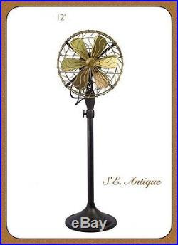 Fan Brass Floor Stand Antique Blade Electric Vintage SE Size 12
