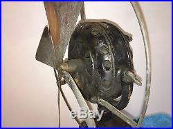 GE Brass Electric Fan Old Pancake Motor 12 Antique Vintage Original Paint