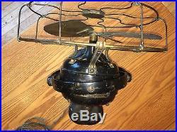 GE Kidney Oscillator Fan Brass, Original Paint, 12 Old Motor Antique 1911