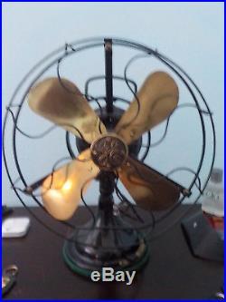 GE antique fan, polished brass blade Restored