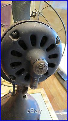 General Electric GE 12 Brass Blade Antique Vintage Electric Fan Rare & Working