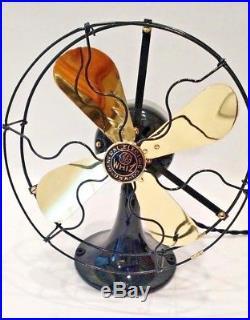 General Electric GE 9 Antique Vintage Electric Brass Blade Whiz Fan Restored