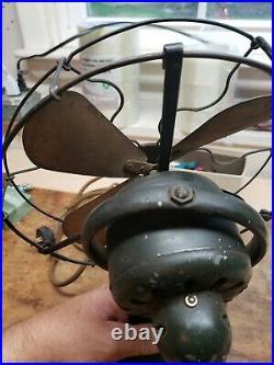 General Electric Whiz 9 Fan GE Vintage Antique Brass Blade Oscillating