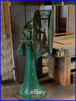 Large Antique Cast Iron Industrial Perkins Floor Fan 62Tall